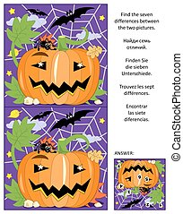 Halloween find the differences picture puzzle with pumpkin, bats and spider