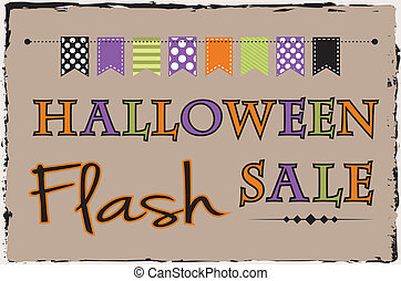 Halloween flash sale template with bunting or banner