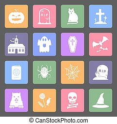 Halloween flat design icons set