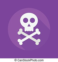Halloween Flat Icon Crossbones and skull