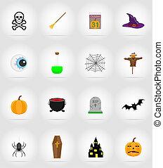 halloween flat icons illustration