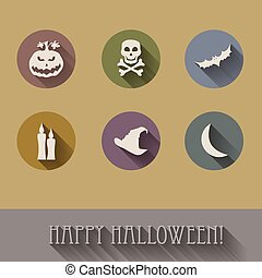 Halloween flat icons set.