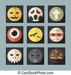 Halloween flat icons set, vector