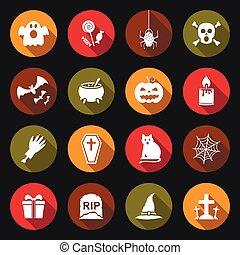 Halloween flat icons set