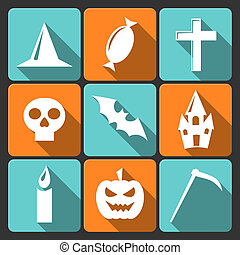 Halloween flat vector icons with long shadow. Set 3