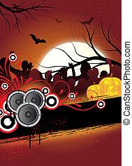 halloween flyer - abstract halloween flyer design with...