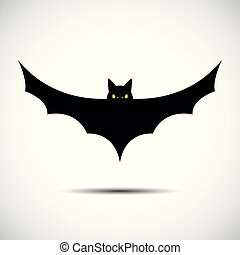 halloween flying bat on white background Silhouette