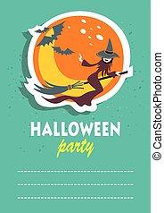 halloween flying witch - Flying witch. Halloween greeting...