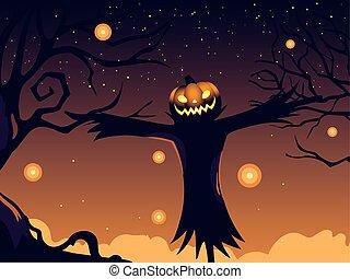 halloween, fond, épouvantail, citrouille