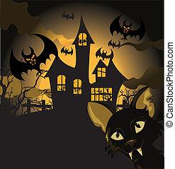 halloween, fond, chat