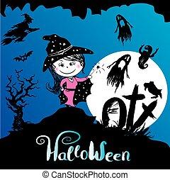 halloween, fond, effrayant