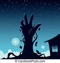 halloween, fond, main, zombi