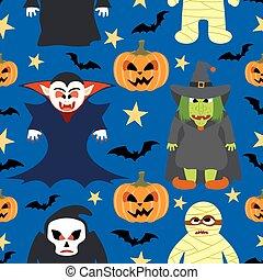 halloween, fond, monstre