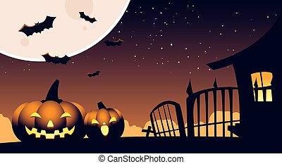 halloween, fond, potirons, cimetière