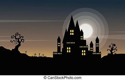 halloween, fondo, con, castello, notte