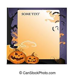halloween, fondo, con, zucche