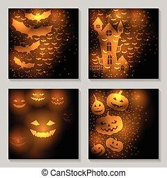 halloween, fondos, conjunto
