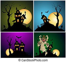 halloween, fondos, vector, conjunto