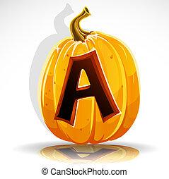 Halloween font cut out pumpkin. A