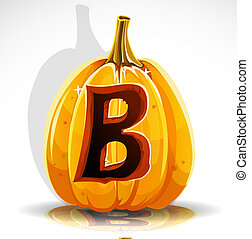 Halloween font cut out pumpkin. B