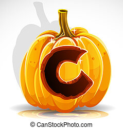 Halloween font cut out pumpkin. C