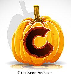 Halloween font cut out pumpkin. C