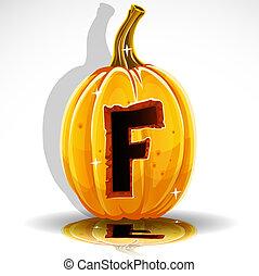 Halloween font cut out pumpkin. F