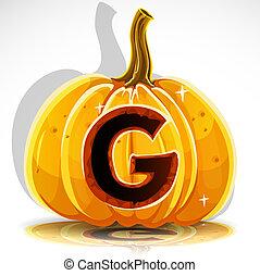 Halloween font cut out pumpkin. G