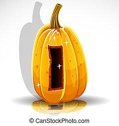 Halloween font cut out pumpkin. I