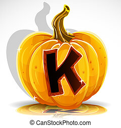 Halloween font cut out pumpkin. K
