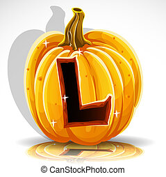 Halloween font cut out pumpkin. L