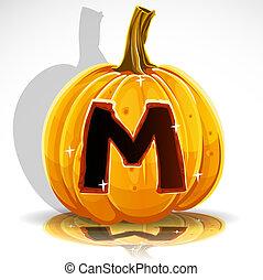 Halloween font cut out pumpkin. M