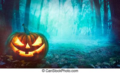 halloween, forêt, citrouille