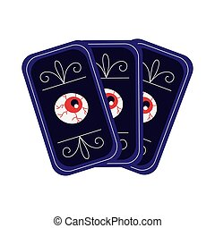 halloween fortune telling cards flat style vector illustration design