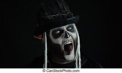 halloween, fou, horrible, essayer, maquillage, homme, ...