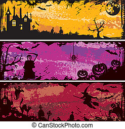 Halloween frame - Three grunge Halloween frame with bat,...