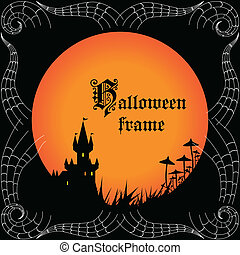 Halloween frame with castle