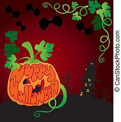 Halloween frame with pumpkin
