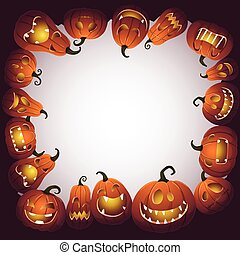 Halloween frame with scary pumpkin monsters.