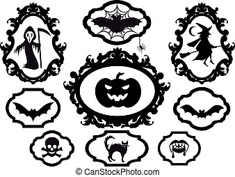 halloween frames, vector - halloween set with frames, vector...