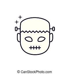 halloween frankenstein head character icon