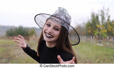 halloween, frighting, adolescente, maquillage