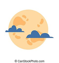 halloween full moon night scene vector illustration design