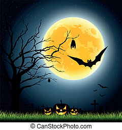 Halloween full moon party at night background, vector illustration