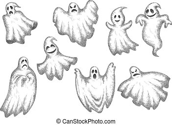 Halloween funny cartoon ghosts set