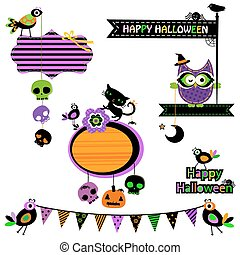 Halloween funny design elements set