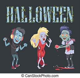 Halloween Funny Poster on Vector Illustration
