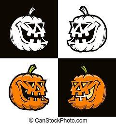 Halloween funny pumpkin in half-turn view - vector...