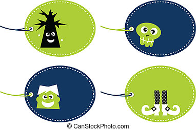 Halloween funny tags set isolated on white