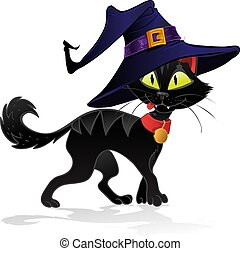 halloween, gato, bruja, terrible, negro